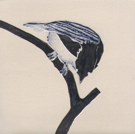 Pentimento Ceramics and Print_Coal tit_Handmade_bespoke_ceramic tile_hand decorated_birds_british garden birds_original art