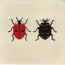 Pentimento Ceramics and Print_ladybirds_2 spot ladybird_7 spot ladybird_insect_Handmade_bespoke_ceramic tile_hand decorated_original art