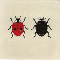 Pentimento Ceramics and Print_ladybirds_2 spot ladybird_7 spot ladybird_insect_Handmade_bespoke_ceramic tile_hand decorated_original art