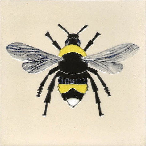 Pentimento Ceramics and Print_bee_bumble bee_bombus_insect_Handmade_bespoke_ceramic tile_hand decorated_original art_White tailed bee
