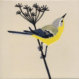 Pentimento Ceramics and print_british birds_garden birds_handmade_ceramic tile_original art_bespoke_yellow wagtail