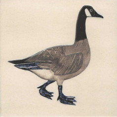 Pentimento Ceramics and Print_Canada Goose_goose_geese_Handmade_bespoke_ceramic tile_hand decorated_original art