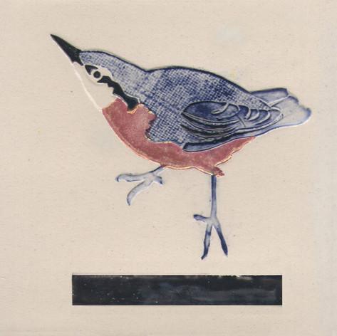 Pentimento Ceramics and Print_Nuthatch_Handmade_bespoke_ceramic tile_hand decorated_birds_british garden birds_original art
