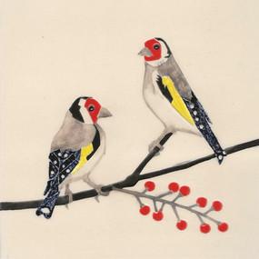 Pentimento Ceramics and Print_goldfinches_british birds_garden birds_handmade_ceramic tile_original art_bespoke