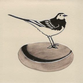 Pentimento Ceramics and print_pied wagtail_british birds_garden birds_handmade_ceramic tile_original art_bespoke_pebble