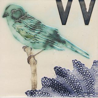 Pentimento Ceramics and print_Finch_british birds_garden birds_handmade_ceramic tile_original art_bespoke_lace_letterpress