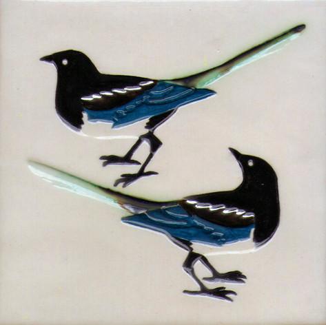 Pentimento Ceramics and Print_Magpies_Handmade_bespoke_ceramic tile_hand decorated_birds_british garden birds_original art