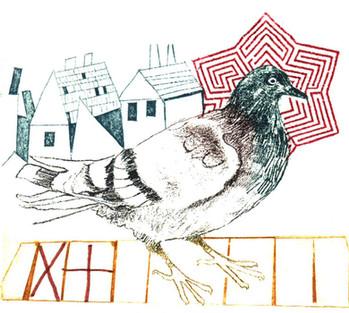 Print_photo-etching_mini print_bird_photo-etching_collograph_letraset_gum arabic transfer_printmaking_british birds_Pentimento Ceramics and Print_myth_pigeon