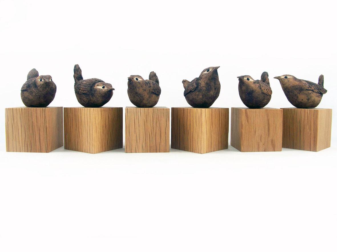 wrens_bird_garden bird_British bird_oak_ceramic bird_birds in clay_hand built_original art_bird sculpture_hand made_Pentimento Ceramics and Print