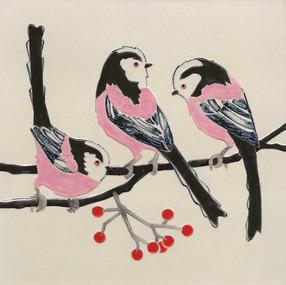 Pentimento Ceramics and Print_long-tailed tits_british birds_garden birds_handmade_ceramic tile_original art_bespoke