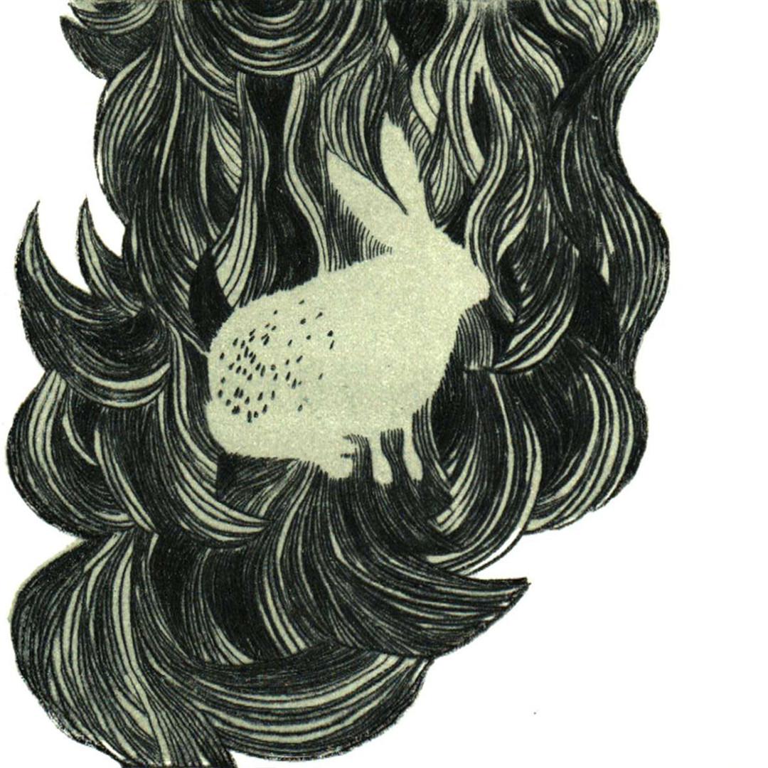 Pentimento Ceramics and Print_homonym_printmaking_collograph_gum arabic transfer_A4 print_limited edition print_hare_hair_original print