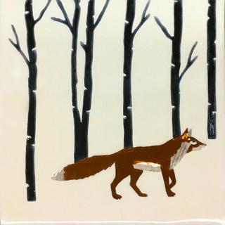 Pentimento Ceramics and print_british mammals_handmade_ceramic tile_original art_bespoke_fox_woods