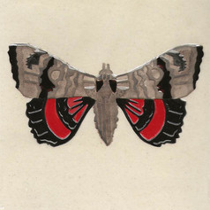 Pentimento Ceramics and Print_Red Poplar Underwing Moth_catocala nupta_insect_Handmade_bespoke_ceramic tile_hand decorated_original art