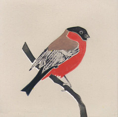 Pentimento Ceramics and Print_Bullfinch_Handmade_bespoke_ceramic tile_hand decorated_birds_british garden birds_original art