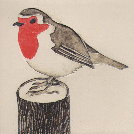 Pentimento Ceramics and Print_Robin_Handmade_bespoke_ceramic tile_hand decorated_birds_british garden birds_original art