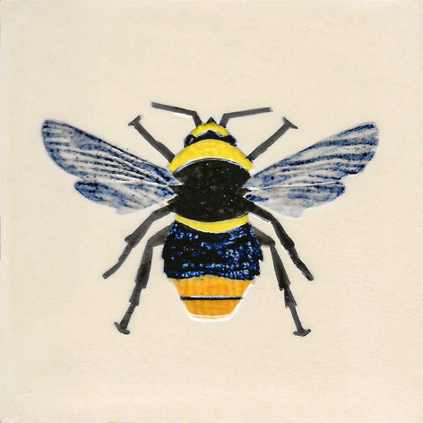 Pentimento Ceramics and Print_bee_bumble bee_bombus_insect_Handmade_bespoke_ceramic tile_hand decorated_original art_red tailed bee