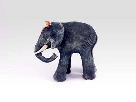 Ceramic Elephant_mammal_clay animal_hand built_pottery_animal sculpture_pentimento ceramics and print_mouse_original art_hand made.