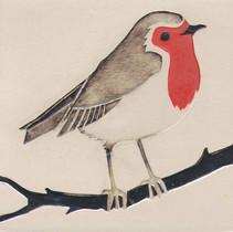 Pentimento Pentimento Ceramics and Print_Robin_Handmade_bespoke_ceramic tile_hand decorated_birds_british garden birds_original art