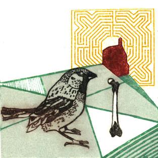Print_collograph_drypoint_gum arabic transfer_mini print_bird_printmaking_british birds_Pentimento Ceramics and Print_sparrow_myth