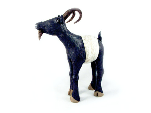 Ceramic Goat_clay animal_hand built_pottery_animal sculpture_pentimento ceramics and print_original art_hand made.