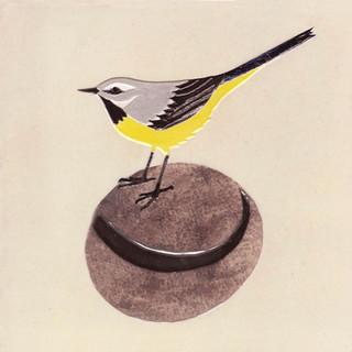 Pentimento Ceramics and print_gray wagtail_british birds_garden birds_handmade_ceramic tile_original art_bespoke_pebble