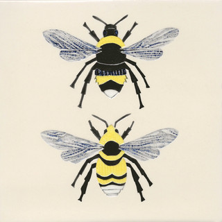 Pentimento ceramics and Print_British bees_bees_white tailed bees_handmade_ceramic tile_bespoke_Original art