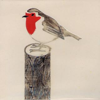 Pentimento Ceramics and print_robin_british birds_garden birds_handmade_ceramic tile_original art_bespoke