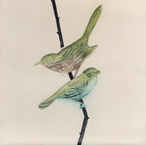 Pentimento Ceramics and Print_Finches_british birds_garden birds_handmade_ceramic tile_original art_bespoke_twig