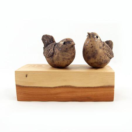 Wrens_yew_bird_ceramic bird_garden bird_British bird_Yew_birds in clay_hand built_original art_bird sculpture_hand made_Pentimento Ceramics and Print