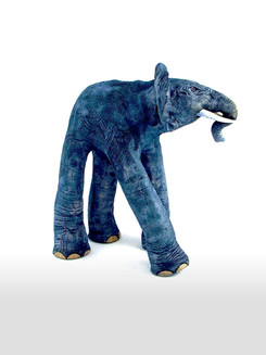 Ceramic Elephant_mammal_clay animal_hand built_pottery_animal sculpture_pentimento ceramics and print_original art_hand made