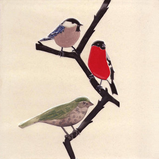 Pentimento Ceramics and Print_Finch_bullfinch_british birds_garden birds_handmade_ceramic tile_original art_bespoke_twig