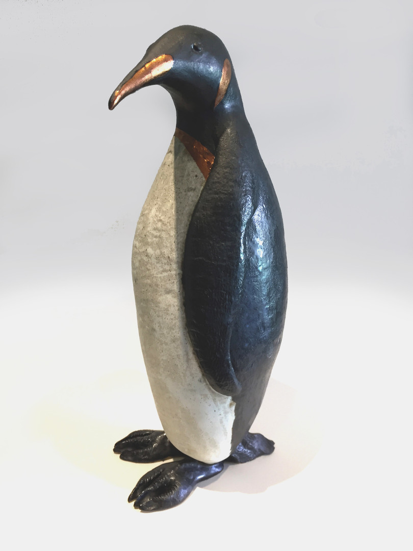Pentimento Ceramics and Print_Penguin_seabird_antarctica_ice_polar icecaps_animal sculpture_bird sculpture_birds in clay_ceramic penguin_original art_hand built ceramics