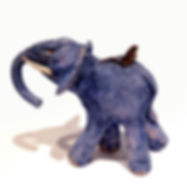 Ceramic Elephant_mammal_clay animal_hand built_pottery_animal sculpture_pentimento ceramics and print_mouse_original art_hand made.