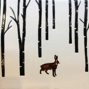 Pentimento Ceramics and print_british mammals_handmade_ceramic tile_original art_bespoke_hare_woods