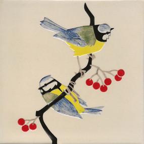 Pentimento Ceramics and print_british birds_garden birds_handmade_ceramic tile_original art_bespoke_blue tits