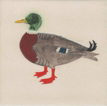 Pentimento Ceramics and Print_Mallard_duck_Handmade_bespoke_ceramic tile_hand decorated_original art