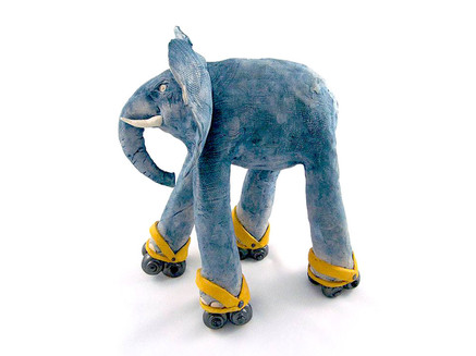 Ceramic Elephant_mammal_clay animal_hand built_pottery_animal sculpture_pentimento ceramics and print_original art_hand made.