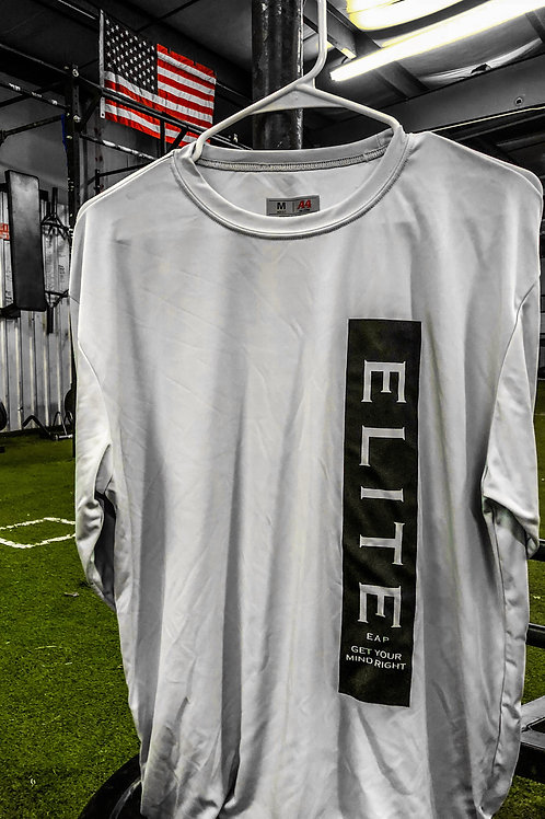 "Vert Print Silver Long Slve Front ""ELITE Get your mind right"" Back ""COMMITTED"""