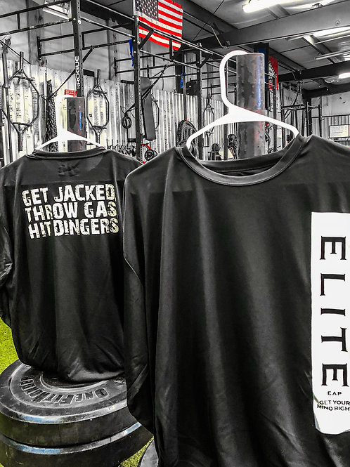 Long Sleeve Get Jacked. Throw Gas. Hit Dingers. Moisture wicking T-Shirt