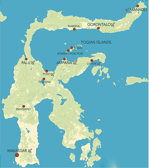 Map of Sulawesi with most important locatios for the trvel rote from north to south.