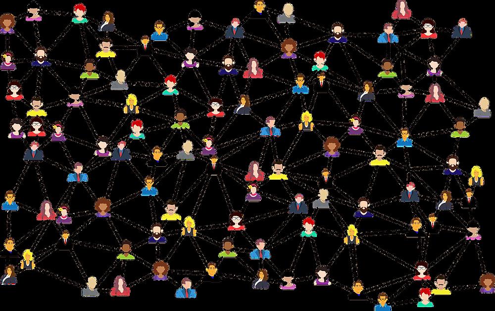 Grafik von Menschen die untereinander vernetzt sind