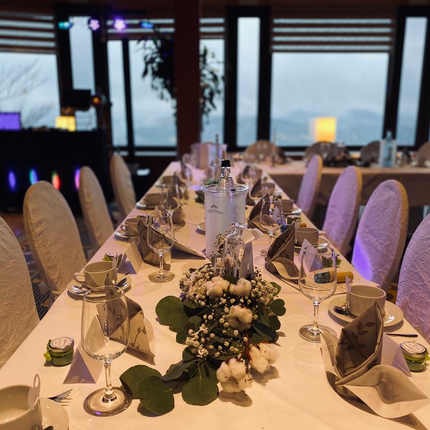 Tischdekoration zur Hochzeit im Panoramarestaurante Bastei