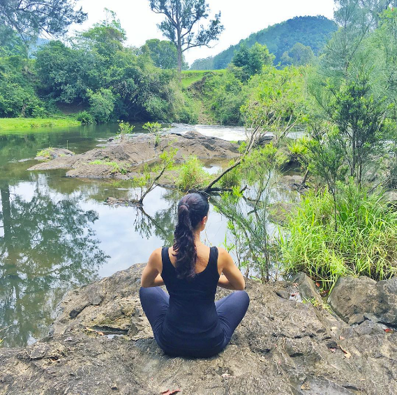 Getting my yoga on @ Krishna Village