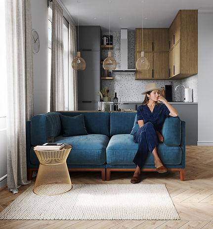 синий диван в гостиной, терацо терраццо в интерьере, пол французская елочка в интерьере, дизайн-проект однушки