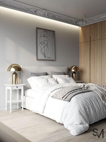 дизайн-проект спальни, молдинги в интерьере