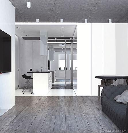 дизайн-проект в минимализме, интерьер эклектика, перенос кухни в коридор фото, дизайн-проект перепланировка двушки