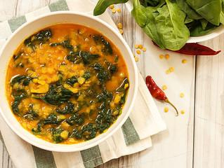 Sopa de lentejas y espinacas