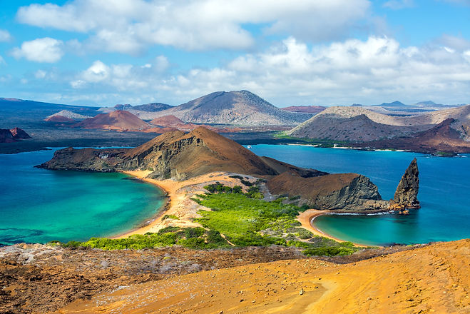 View of two beaches on Bartolome Island in the Galapagos Islands in Ecuador.jpg