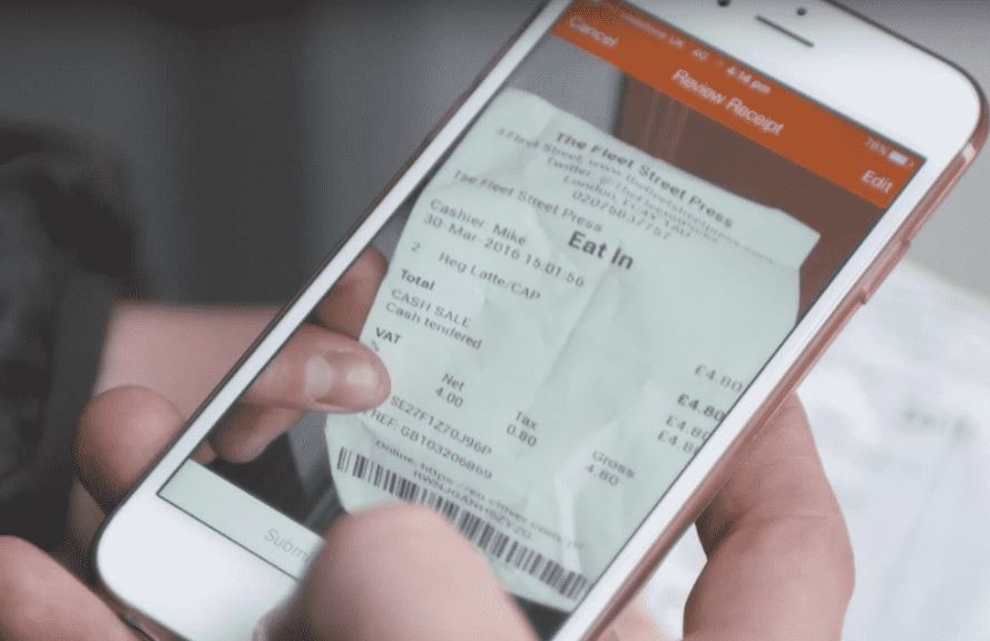 Receipt Bank App reading a receipt for bookkeeping services.