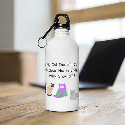 'Colour of My Friends Felines' Stainless Steel Water Bottle